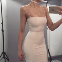 New Summer Fashion Sexy Straps Show Thin Package Buttocks Pure Color Dress