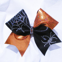 Cheer bow- Halloween cheer bow in Black and orange with rhinestone spider and web- cheerbow- softball bow- cheerleader bow-cheerleading bow