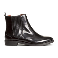 H&M - Leather Boots - Black - Ladies