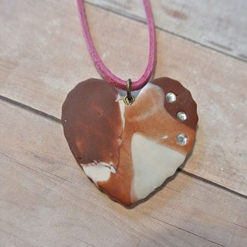 """Heart Brown White Necklace Polymer Clay Pendant Necklace - Rose Pink Faux Suede Cord - 11"""" long OOAK"""