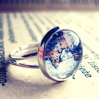 Retro Vintage Silver World Map Globetrotter Ring - Free Shipping - Made to order :)