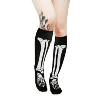 Chill To Bones 17″ Socks In Black/White Print | Thirteen Vintage
