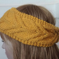 FREE SHIPPING-Knit Cable Headband Turban in Mustard Yellow,Handmade Headband,Ear Warmer,Trendy Winter Headband,Knit Women Accessory,Boho