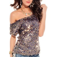 made2envy Off-shoulder Glistening Sequin Top (M, Blue) C25078-3B-NOV05