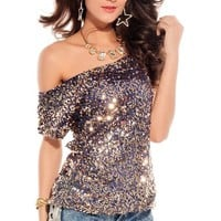 made2envy Off-shoulder Blue Glistening Sequin Top (M, Blue) C25078-3B-NOV05