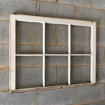 Vintage 6 Pane Window Frame - White, 36 x 27,  Rustic, Wedding, Beach Decor, Photos, Pictures, Engagement, Holiday, Christmas