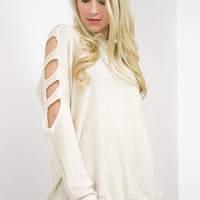Ladder Cutout Sweater Top | Ivory