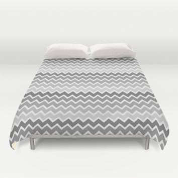 Grey Gray Ombre Chevron Duvet Cover by decampstudios