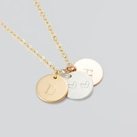 Mixed Metal Necklace • Personalized Disc Necklace in Gold Filled Sterling silver Rose gold fill • Initial Heart Necklace |0278-4NM