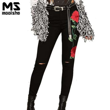 Spring Fashion Women High Waist Jeans Rose Embroidered Knee Hole Black Women Jeans Denim Pants