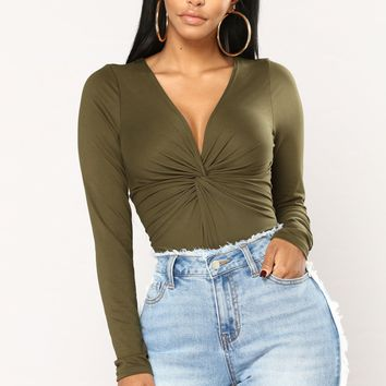 Twisted Heart Bodysuit - Olive