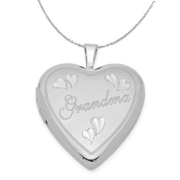 Sterling Silver 20mm Diamond Cut Grandma Heart Locket Necklace