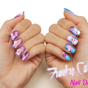 Kitten Revenge Kitty Cone Space Cat Nail Decals - Pastel Nail Wraps Nail Art Galaxy Kitten Kawaii Unicorn Ice Cream Pink Cosmos Pastel Goth