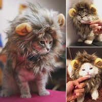 Pet Costume Lion Mane Wig Cat Pets Halloween Dress Up With Ears Festival [7672533830]