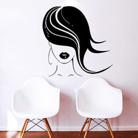 Makeup Wall Decal Vinyl Sticker Decals Home Decor Mural Make Up Girl Eyes Woman Fashion Cosmetic Hairdressing Hair Beauty Salon Decor SV6033