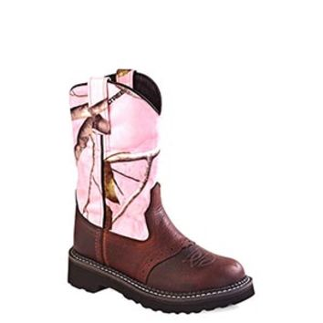 Old West Children's Tubbies Pink Camo & Leather Cowgirl Boots