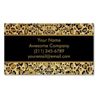 Shimmering Gold Leopard Print Business Cards