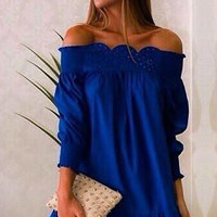 Blue Off Shoulder Sleeve Ruffled Dress