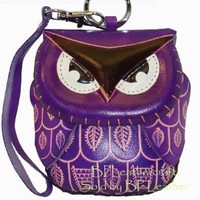 Womens Leather Owl Coin Wristlet Wallet (Purple)