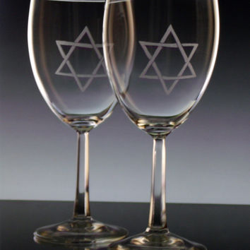 4 piece Hanukkah  ,Chanukah  Star of David Wine glass gift set