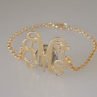 """Gold Monogram Bracelet - Personalized 1"""" 18k Gold plated Over Brass - Free Shipping"""