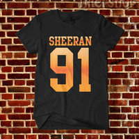 Ed Sheeran 91 Date of Birth Singer Men's Woman's Unisex Size Black and White T Shirt