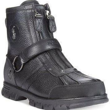 CREYONV Polo Ralph Lauren Conquest High Duck Boots Black color Mens Boot