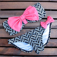 Women Fashion Summer Cute Bikini With Bowknot Trimming Swimsuits = 1956849348