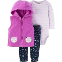Child of Mine by Carter's Baby Girl Bodysuit, Microfleece Vest & Pants, 3pc Outfit Set - Walmart.com