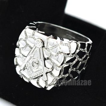 ESBONRC NEW MENS FREEMASON MASONIC SILVER PLATED NUGGET RING SIZE 8 - 13 N012S