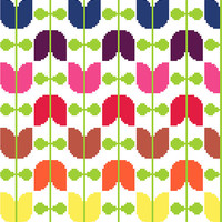 Retro tulips strung on vines - Modern cross stitch pattern