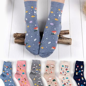 COCOTEKK Women Cotton Pattern Socks Cute Cartoon Snow White and Seven Dwarfs Socks Animal Cat Rabbit Mermaid Socks Novelty Soks