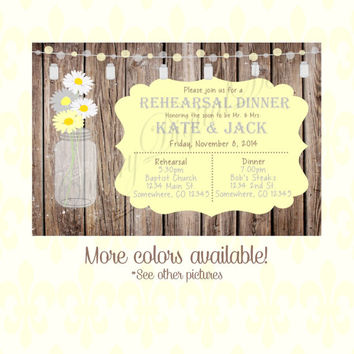 Mason Jar Rustic Shabby Chic Rehearsal Dinner Invitation. Yellow & Gray Custom Printable Mason Jar Rustic Wood Wedding Invitation. Rustic