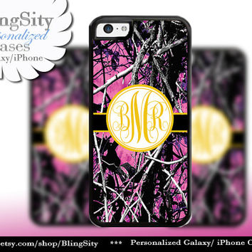 Camo Yellow Monogram iPhone 5C 6 Plus Case iPhone 5s 4 case Ipod muddy Realtree Personalized Cover Country Inspired Girl