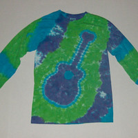 Tie Dye Guitar Long Sleeved T-Shirt - Any Color Combination Available
