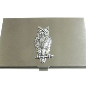 Silver Toned Large Textured Owl Pendant Business Card Holder