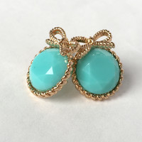 Belle Bow Stud Earrings - Mint