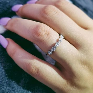 Original design 925 sterling silver band eternity ring for women girl love finger wedding engagement jewelry LR1901S
