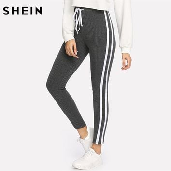 SHEIN Sweatpants Women Grey Striped Drawstring Waist Casual Womens Pants Striped Sideseam Ribbed Knit Sweatpants