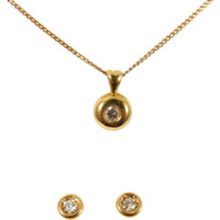Lovely natural diamond necklace and earrings set, 18K stamped solid gold, fine jewelry
