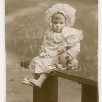 CDV Carte de Visite Photo Victorian Cute Baby Girl on Bench Holding Teddy Bear Identified - Photographer Unknown