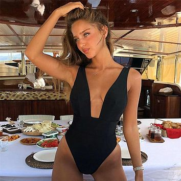 Sexy 2019 One Piece Swimsuit Female Solid Backless High Cut Bandage Black Women Swimwear Brazilian Monokini Bathing Suit