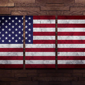Flag Wall Art Triptych USA American Wall Decor on Aluminum Panels