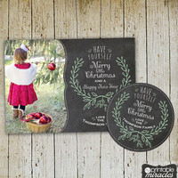 Christmas photo card, Custom holiday card with photo, Customized printable christmas cards, Personalized gift tag - black, white, green