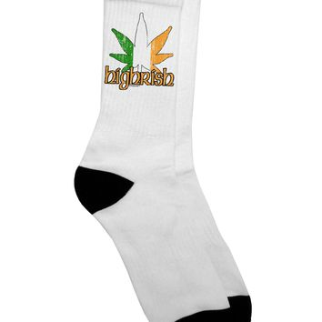 Highrish - Marijuana Leaf Distressed Adult Crew Socks - by TooLoud