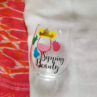 Disney Wine Glass, Sipping Beauty, Aurora Sleeping Beauty Wine Glass, Disney Tumbler, Glitter Wine Glass , Food And Wine Festival