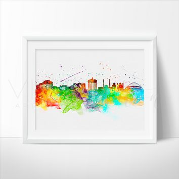 Athens Skyline Watercolor Art Print