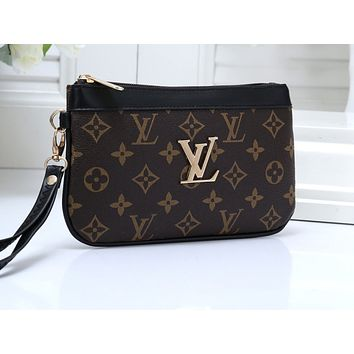 LV Fashion Female Color Matching Printing Bag Handbag Coffee + black