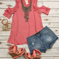 Morning Light Ruffle Cold Shoulder Top: Coral