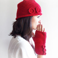 Red Knit Hat with two knitted buttons